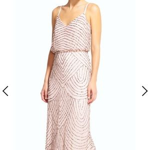 Adrianna Papell blush pink and gold sequin dress